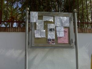 Tablón de anuncios en Villafranca
